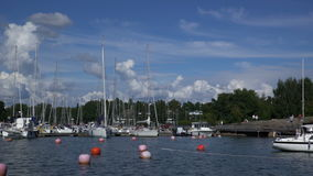 Many boats in the marina on the southern coast of Finland. stock video