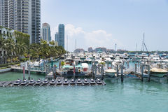 Many boats in Miami marina, Florida, United States Stock Photos