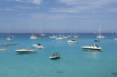 Many boats moored on the blue and green sea Stock Photo