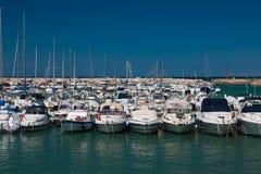 Many boats on the Numana harbor, Marche Royalty Free Stock Photography