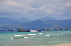 Many boats in the ocean Stock Images