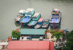 Many boats at the pier in Halong, Vietnam.  Royalty Free Stock Photography
