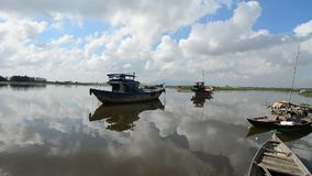 Many boats on the river Mekong stock video footage