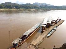 Many boats on rivers. Many boats on Maenam Khong Royalty Free Stock Photo