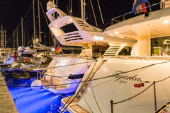 Many boats and yachts anchored in the summer near the island of Hvar Royalty Free Stock Image