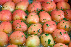 Many boiled red potatoes in  restaurant Stock Photo