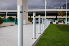 Many bollard in shopping centre parking on Tenerife. Island royalty free stock photography