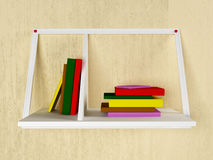 Many books on the shelf, 3d. Rendering Royalty Free Stock Photography