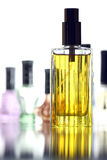 Many Bottle with Gold Perfume color isolated. Stock Photography