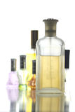 Many Bottle with Gold Perfume color isolated. Stock Image