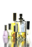 Many Bottle with Gold Perfume color isolated. Royalty Free Stock Images