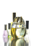 Many Bottle with Gold Perfume color isolated. Royalty Free Stock Photo
