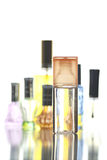 Many Bottle with Perfume different color isolated. Royalty Free Stock Image
