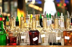 Many bottles of alcohol. In a bar Royalty Free Stock Photography