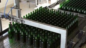 Many bottles on conveyor belt stock video