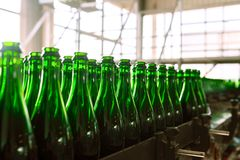 Many bottles on conveyor belt Stock Photography