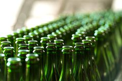 Many bottles on conveyor belt Stock Photography