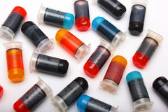 Many bottles with different color printer ink Stock Photography