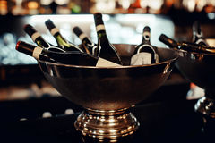 Free Many Bottles Of Wine In The Metal Bowl Close-up Royalty Free Stock Photos - 85075948