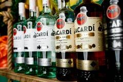 Many bottles of rum `BACARDI` Royalty Free Stock Image