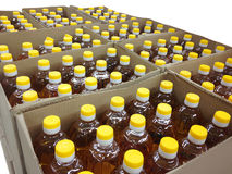 Many bottles of sunflower oil Royalty Free Stock Image