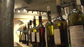 Bottles of wine. Many bottles of wine slow motion shot stock footage
