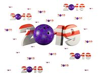 Many Bowling 2019 Designs with many Balls. On a White Background Stock Photography