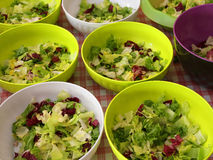 many bowls of lettuce and salad in the restaurant Royalty Free Stock Photography