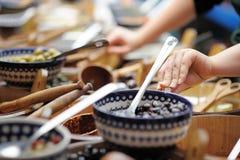 Many bowls of olives at the farmer's market Royalty Free Stock Image