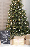 Many boxes with a christas gifts near the Christmas  tree Stock Photography