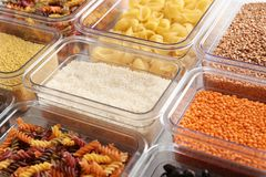 Many boxes with different raw food. Closeup stock photos