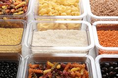 Many boxes with different raw food. Closeup royalty free stock photos