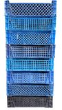 Blue plastic boxes. The many boxes for goods stock images