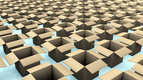 Many boxes on a store. 3d design of abstract background Stock Images