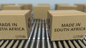 Boxes with MADE IN SOUTH AFRICA text on roller conveyor. goods related 3D rendering. Many boxes with text. Import or export related 3D stock illustration