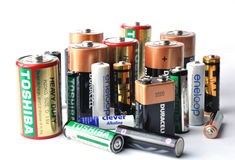 Many brands batteries Stock Photography