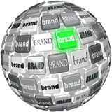 Many Brands One Unqiue Best Brand Sphere Top Choice stock illustration