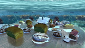Many bread collection in underwater loop. Many bread collection over cylinder table underwater loop stock video