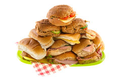 Many bread rolls. With meats and cheese Royalty Free Stock Photography