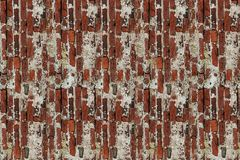Many bricks red terracotta vertical block rectangular old weathered broken hard base with old spots plaster stock images