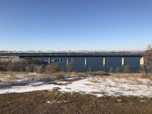 Many bridges. Bridges over the Missouri River in South Stock Image