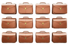 Many of briefcase isolated on white Royalty Free Stock Photo