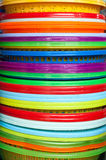 Many bright buckets for sale.  Royalty Free Stock Image