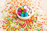 Many bright coloured candy for decoration Royalty Free Stock Photos