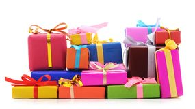 Many bright gifts. Many bright gifts on a white background Royalty Free Stock Image