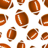 Many bright rugby balls on white, seamless pattern Stock Images
