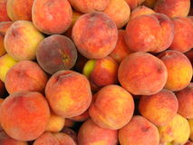 Many bright tasty peaches Stock Photo