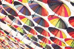 Many bright umbrellas. Stock Photo