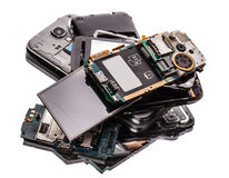 Many broken phones closeup Royalty Free Stock Images
