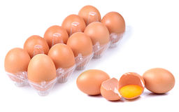 Many brown eggs isolated on white. Background Stock Photo
